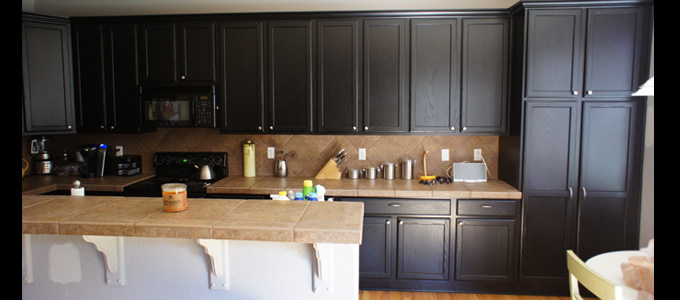 Dark kitchen cabinets paint for Dark brown painted kitchen cabinets