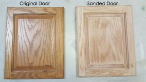 sanded cabinet door before and after