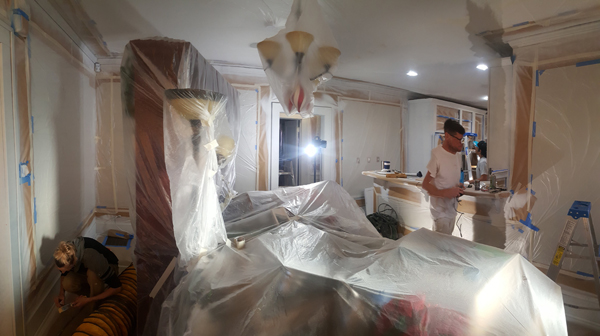 interior of home masked for interior painting